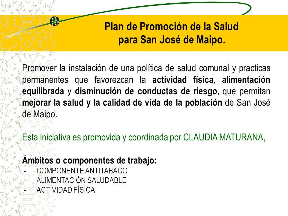 Plan de Promoción de la Salud para San José de Maipo. Promover la instalación de una política de salud comunal y practicas permanentes que favorezcan