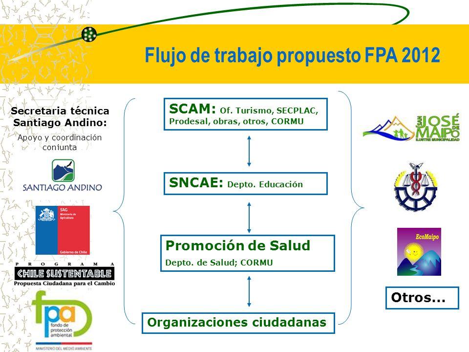 Promoción de Salud Depto. de Salud; CORMU SNCAE: Depto. Educación SCAM: Of. Turismo, SECPLAC, Prodesal, obras, otros, CORMU Flujo de trabajo propuesto