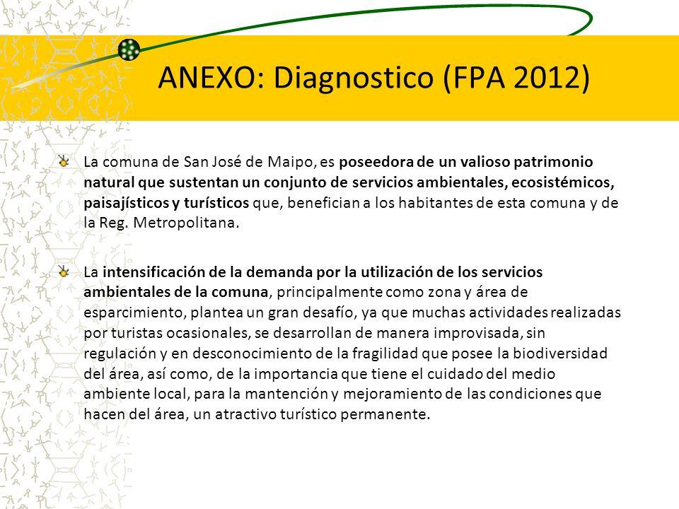 ANEXO: Diagnostico (FPA 2012) La comuna de San José de Maipo, es poseedora de un valioso patrimonio natural que sustentan un conjunto de servicios amb