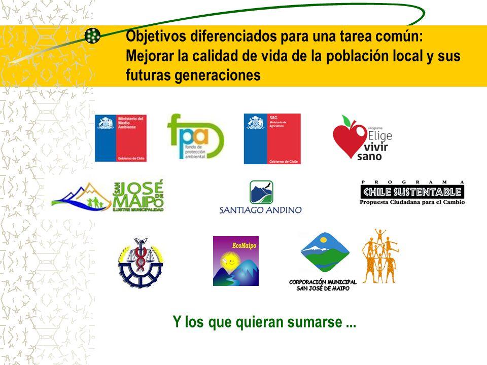 Objetivos diferenciados para una tarea común: Mejorar la calidad de vida de la población local y sus futuras generaciones Y los que quieran sumarse...