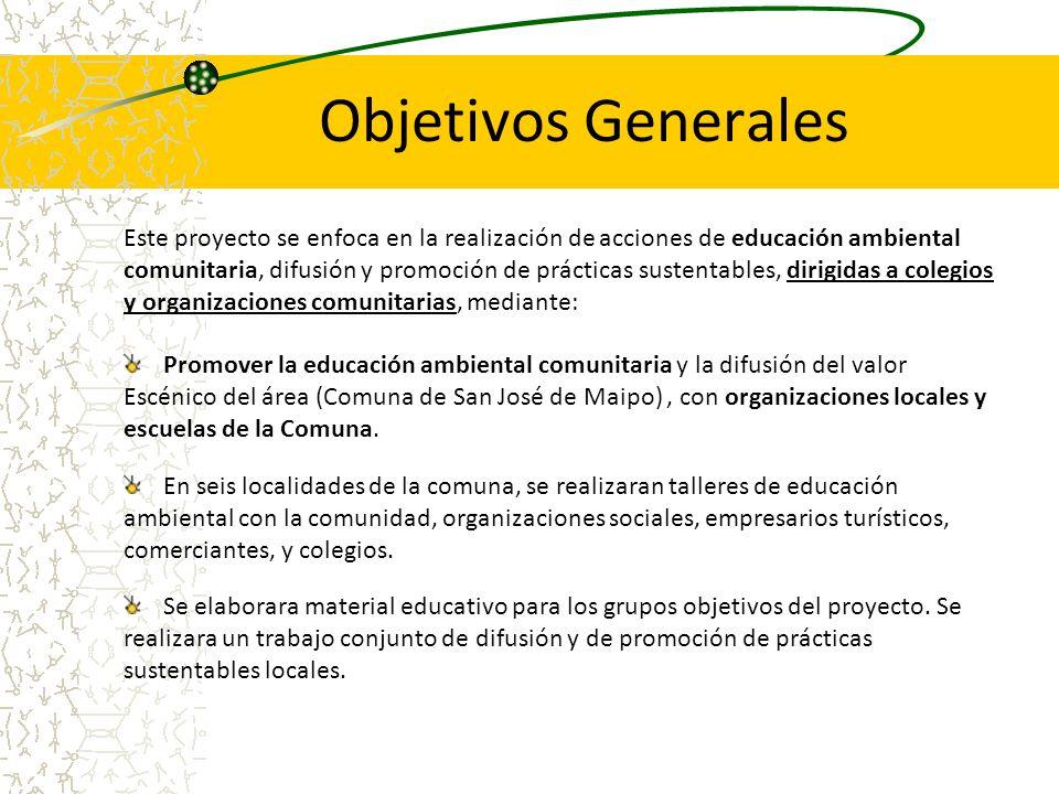 Objetivos Generales Este proyecto se enfoca en la realización de acciones de educación ambiental comunitaria, difusión y promoción de prácticas susten