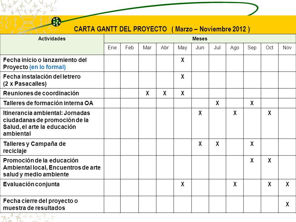 CARTA GANTT DEL PROYECTO ( Marzo – Noviembre 2012 ) ActividadesMeses EneFebMarAbrMayJunJulAgoSepOctNov Fecha inicio o lanzamiento del Proyecto (en lo