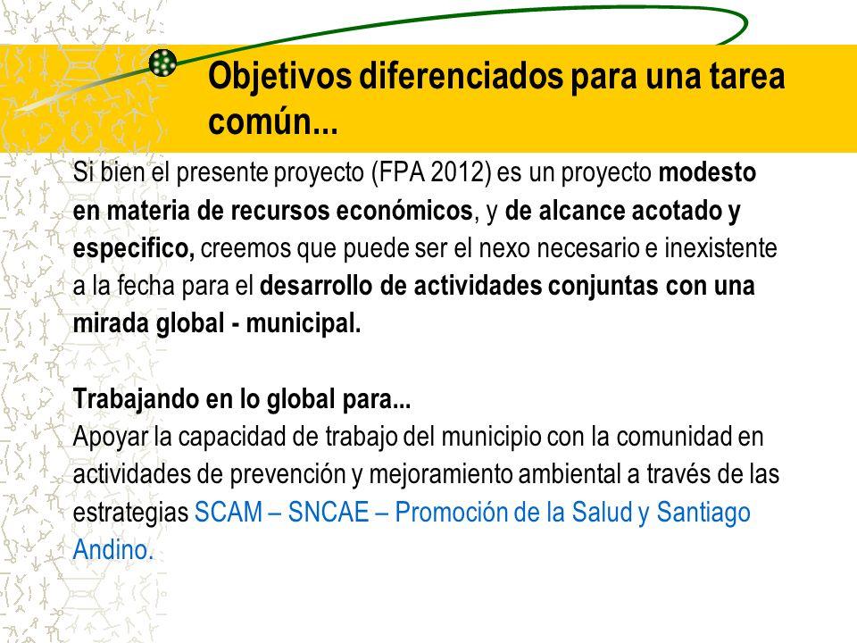 Objetivos diferenciados para una tarea común... Si bien el presente proyecto (FPA 2012) es un proyecto modesto en materia de recursos económicos, y de