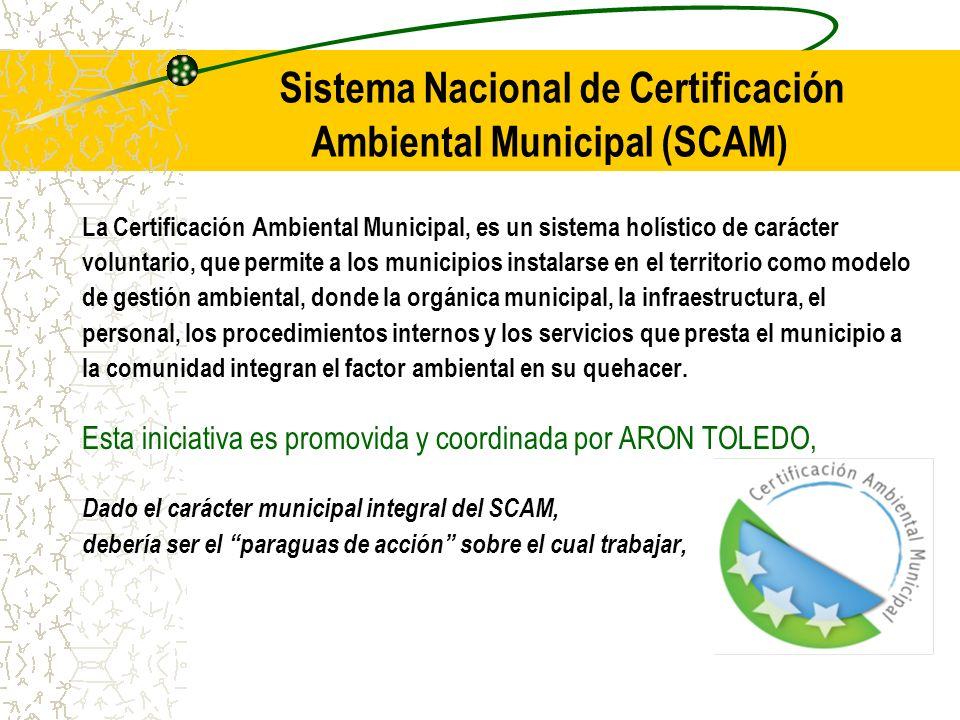 Sistema Nacional de Certificación Ambiental Municipal (SCAM) La Certificación Ambiental Municipal, es un sistema holístico de carácter voluntario, que permite a los municipios instalarse en el territorio como modelo de gestión ambiental, donde la orgánica municipal, la infraestructura, el personal, los procedimientos internos y los servicios que presta el municipio a la comunidad integran el factor ambiental en su quehacer.