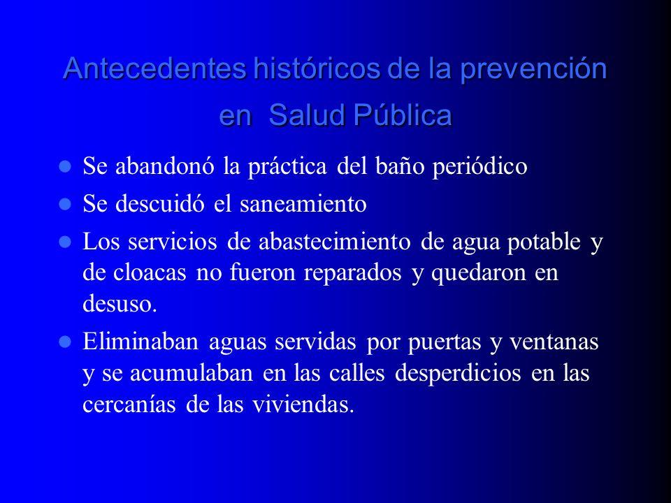 Antecedentes históricos de la prevención en Salud Pública Se abandonó la práctica del baño periódico Se descuidó el saneamiento Los servicios de abast