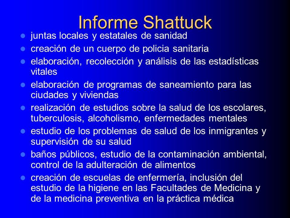 Informe Shattuck juntas locales y estatales de sanidad creación de un cuerpo de policia sanitaria elaboración, recolección y análisis de las estadísti