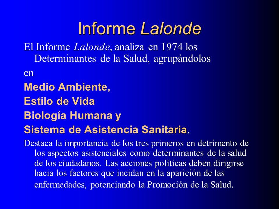 Informe Lalonde El Informe Lalonde, analiza en 1974 los Determinantes de la Salud, agrupándolos en Medio Ambiente, Estilo de Vida Biología Humana y Si