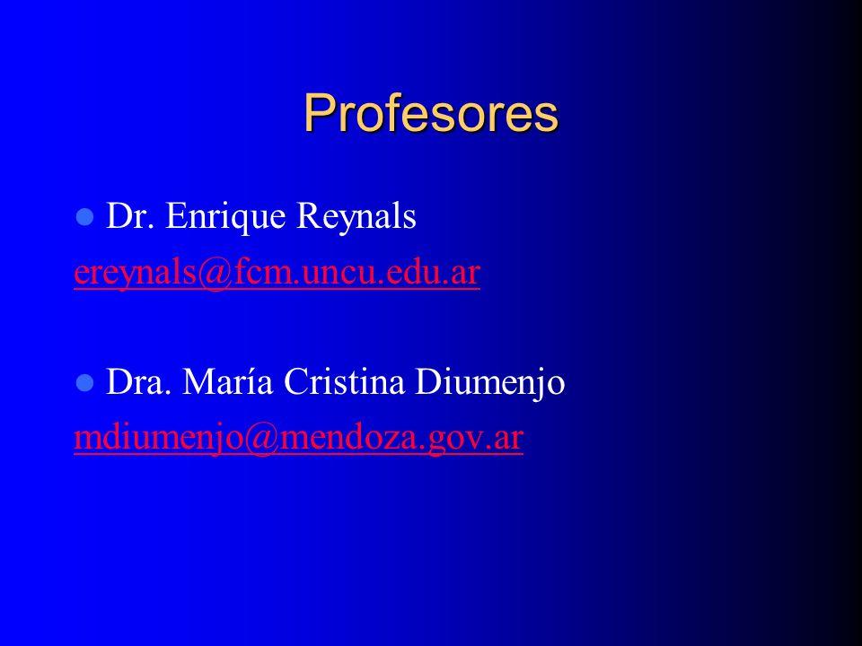 Profesores Dr. Enrique Reynals ereynals@fcm.uncu.edu.ar Dra. María Cristina Diumenjo mdiumenjo@mendoza.gov.ar