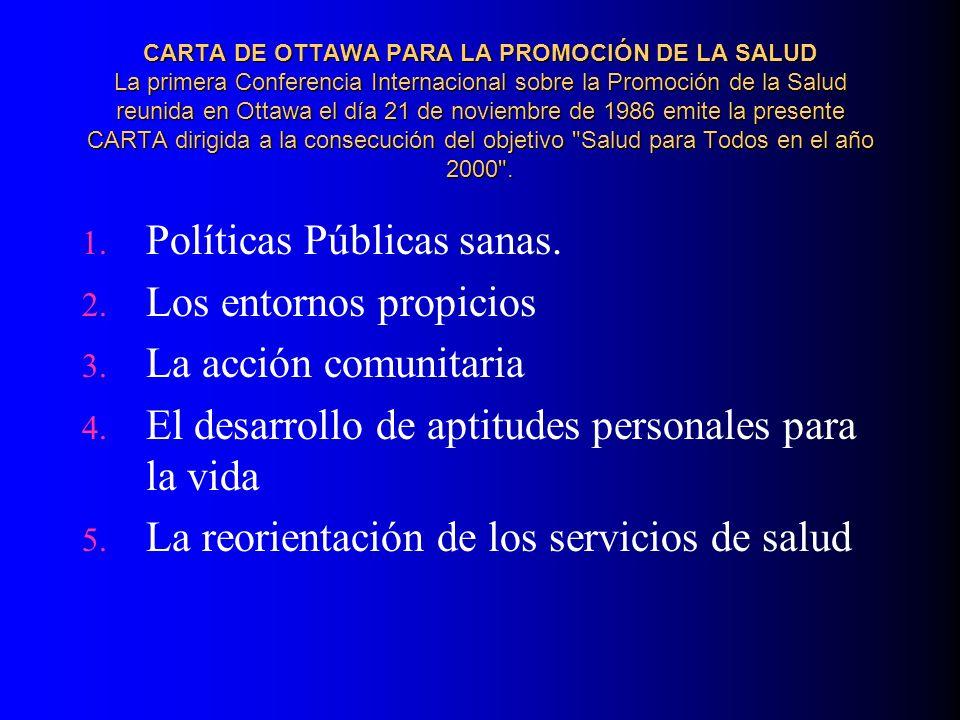 CARTA DE OTTAWA PARA LA PROMOCIÓN DE LA SALUD La primera Conferencia Internacional sobre la Promoción de la Salud reunida en Ottawa el día 21 de novie