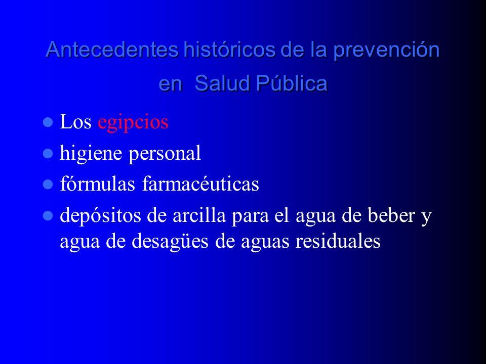 Antecedentes históricos de la prevención en Salud Pública Los egipcios higiene personal fórmulas farmacéuticas depósitos de arcilla para el agua de be