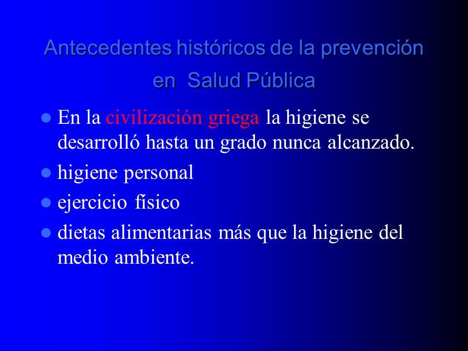 Antecedentes históricos de la prevención en Salud Pública Los romanos en cambio, agregaron a la higiene personal la primera manifestación de la ingeniería sanitaria.
