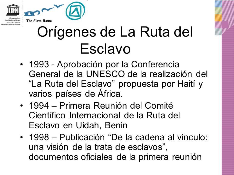 Orígenes de La Ruta del Esclavo 1993 - Aprobación por la Conferencia General de la UNESCO de la realización del La Ruta del Esclavo propuesta por Hait