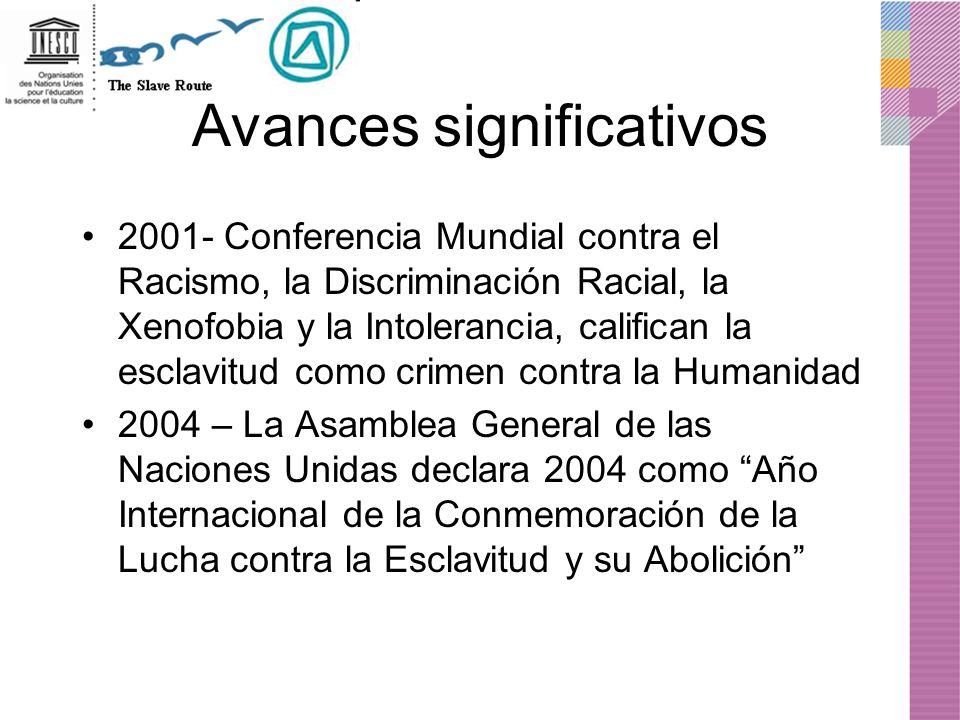 Avances significativos 2001- Conferencia Mundial contra el Racismo, la Discriminación Racial, la Xenofobia y la Intolerancia, califican la esclavitud