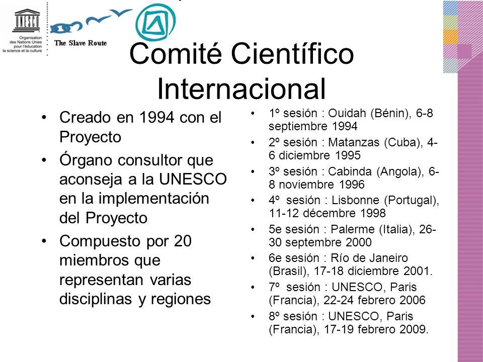 Comité Científico Internacional Creado en 1994 con el Proyecto Órgano consultor que aconseja a la UNESCO en la implementación del Proyecto Compuesto p