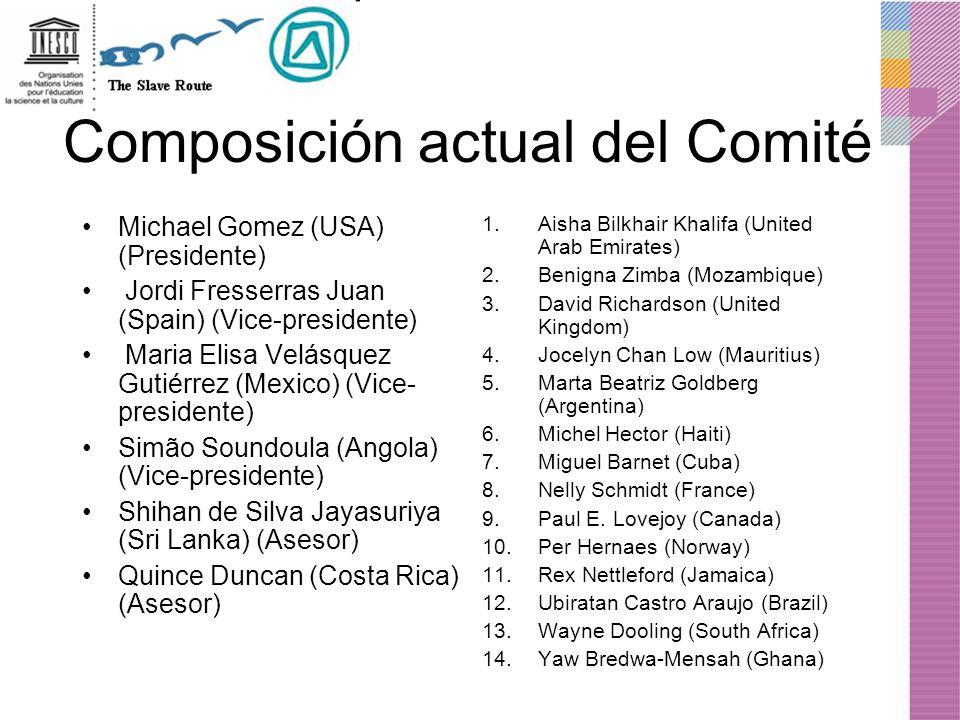 Composición actual del Comité Michael Gomez (USA) (Presidente) Jordi Fresserras Juan (Spain) (Vice-presidente) Maria Elisa Velásquez Gutiérrez (Mexico