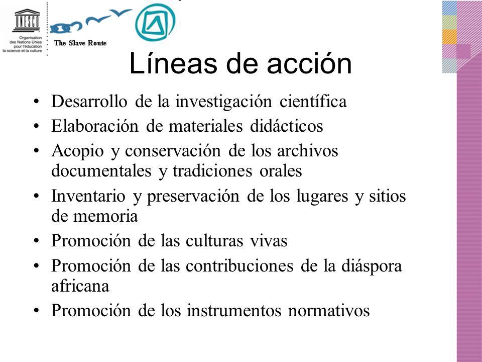 Líneas de acción Desarrollo de la investigación científica Elaboración de materiales didácticos Acopio y conservación de los archivos documentales y t