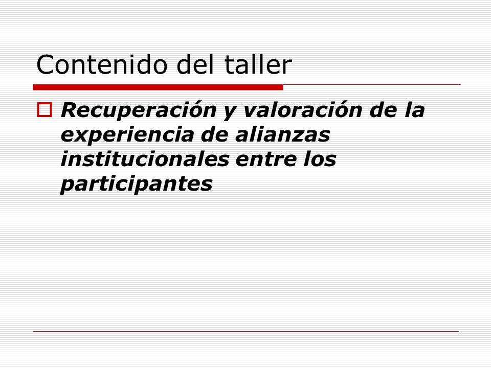 Contenido del taller Recuperación y valoración de la experiencia de alianzas institucionales entre los participantes