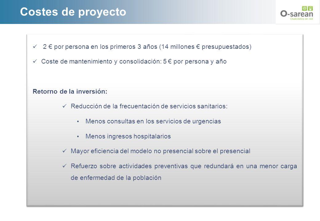Costes de proyecto 2 por persona en los primeros 3 años (14 millones presupuestados) Coste de mantenimiento y consolidación: 5 por persona y año Retor