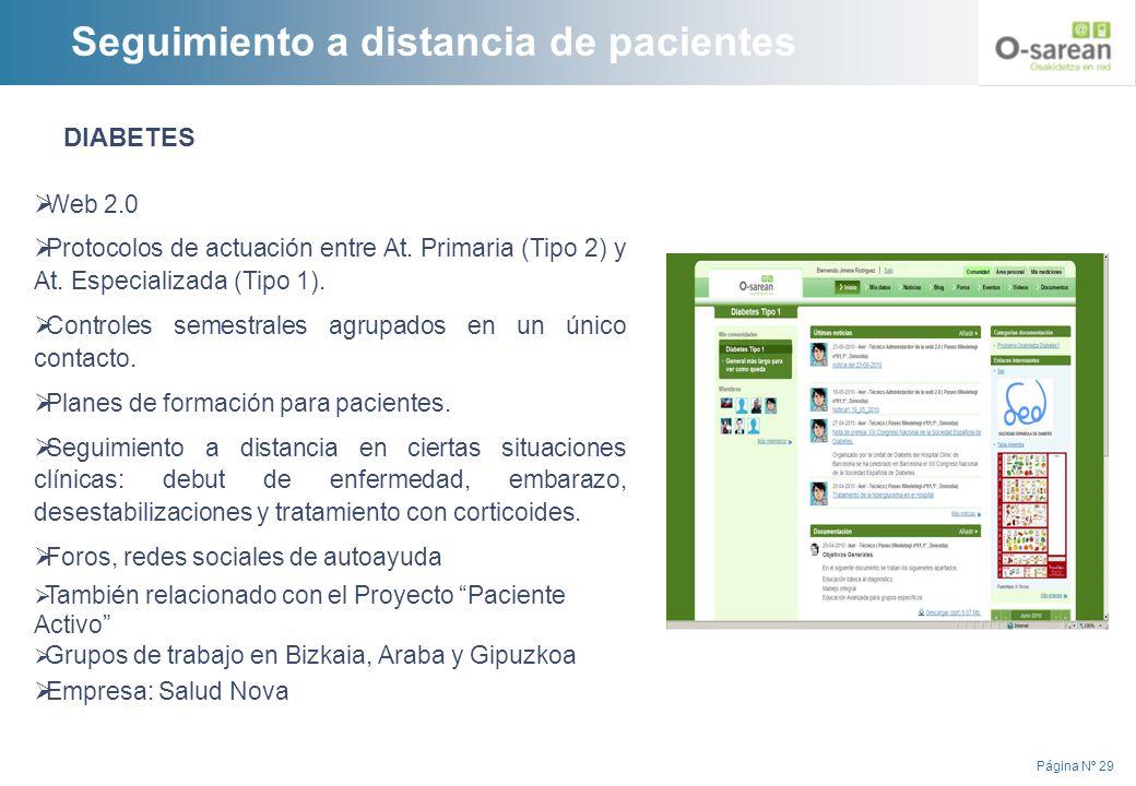 Página Nº 29 DIABETES Web 2.0 Protocolos de actuación entre At. Primaria (Tipo 2) y At. Especializada (Tipo 1). Controles semestrales agrupados en un