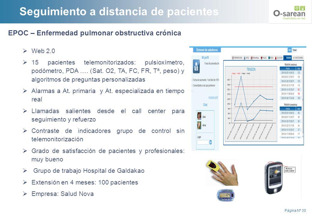 Página Nº 30 EPOC – Enfermedad pulmonar obstructiva crónica Web 2.0 15 pacientes telemonitorizados: pulsioxímetro, podómetro, PDA …. (Sat. O2, TA, FC,