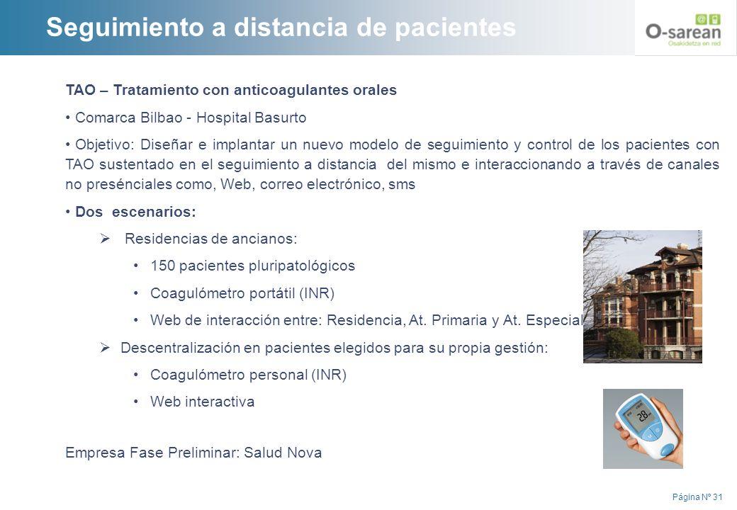 Página Nº 31 TAO – Tratamiento con anticoagulantes orales Comarca Bilbao - Hospital Basurto Objetivo: Diseñar e implantar un nuevo modelo de seguimien