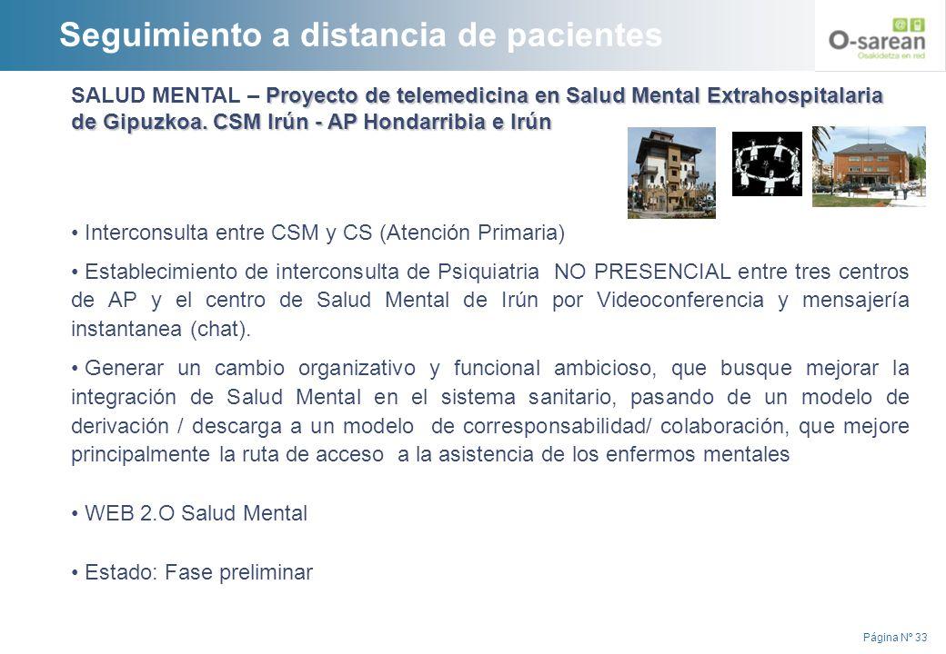 Página Nº 33 Proyecto de telemedicina en Salud Mental Extrahospitalaria de Gipuzkoa. CSM Irún - AP Hondarribia e Irún SALUD MENTAL – Proyecto de telem