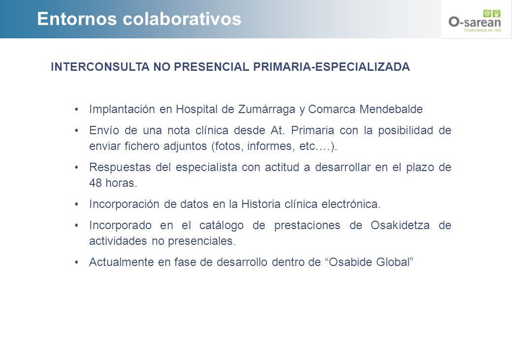 Entornos colaborativos INTERCONSULTA NO PRESENCIAL PRIMARIA-ESPECIALIZADA Implantación en Hospital de Zumárraga y Comarca Mendebalde Envío de una nota