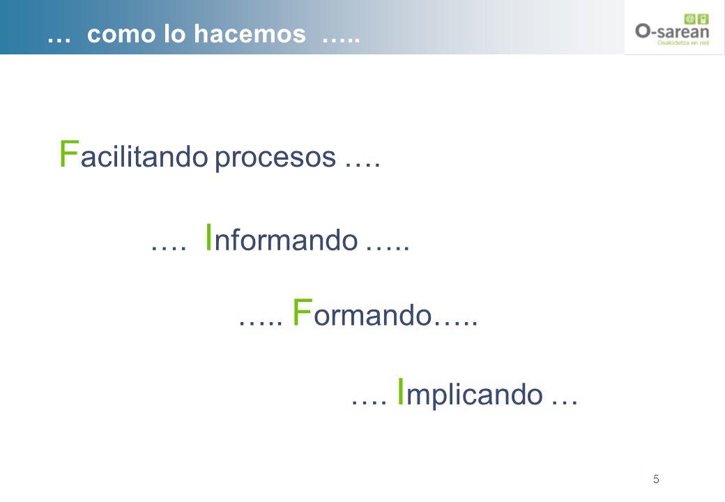 … como lo hacemos ….. F acilitando procesos …. 5 …. I nformando ….. ….. F ormando….. …. I mplicando …