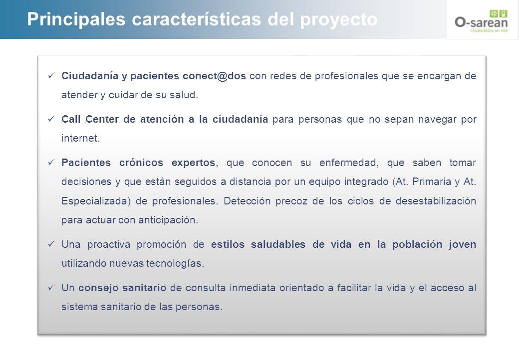 Principales características del proyecto Ciudadanía y pacientes conect@dos con redes de profesionales que se encargan de atender y cuidar de su salud.