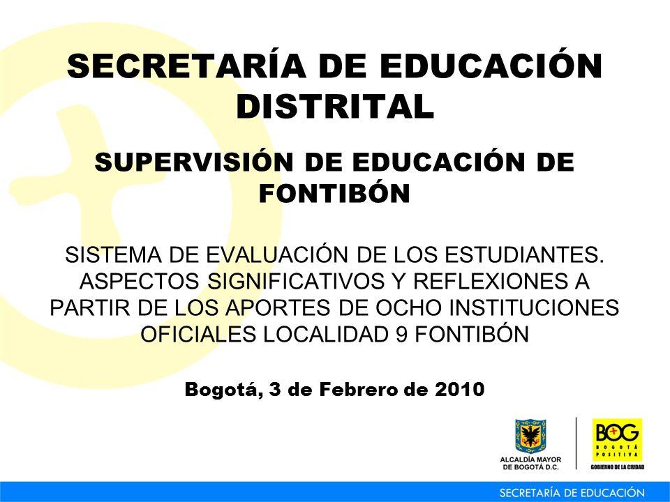 SECRETARÍA DE EDUCACIÓN DISTRITAL SUPERVISIÓN DE EDUCACIÓN DE FONTIBÓN SISTEMA DE EVALUACIÓN DE LOS ESTUDIANTES. ASPECTOS SIGNIFICATIVOS Y REFLEXIONES