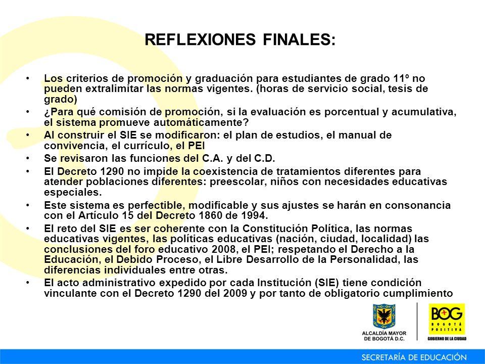 REFLEXIONES FINALES: Los criterios de promoción y graduación para estudiantes de grado 11º no pueden extralimitar las normas vigentes. (horas de servi