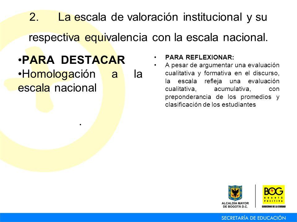 2. La escala de valoración institucional y su respectiva equivalencia con la escala nacional. PARA DESTACAR Homologación a la escala nacional. PARA RE