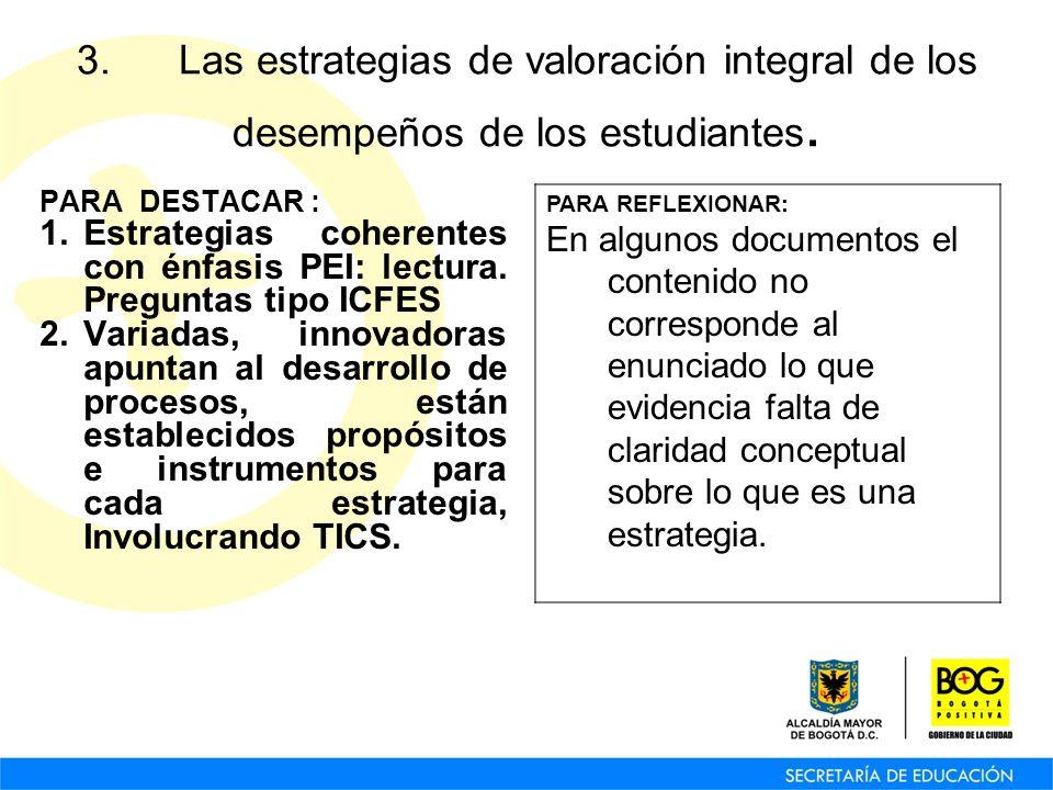 3. Las estrategias de valoración integral de los desempeños de los estudiantes. PARA DESTACAR : 1.Estrategias coherentes con énfasis PEI: lectura. Pre