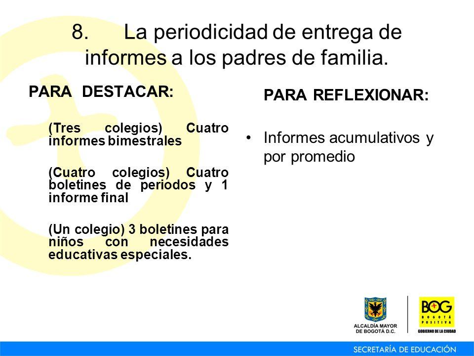 8. La periodicidad de entrega de informes a los padres de familia. PARA DESTACAR: (Tres colegios) Cuatro informes bimestrales (Cuatro colegios) Cuatro