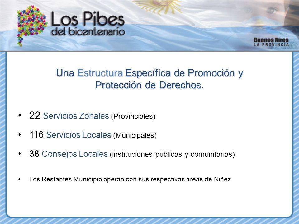 Una Estructura Específica de Promoción y Protección de Derechos. 22 Servicios Zonales (Provinciales) 116 Servicios Locales (Municipales) 38 Consejos L