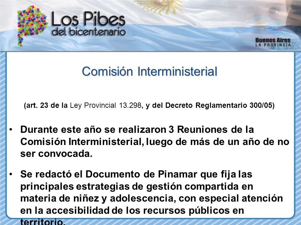 Comisión Interministerial (art. 23 de la Ley Provincial 13.298, y del Decreto Reglamentario 300/05) Durante este año se realizaron 3 Reuniones de la C
