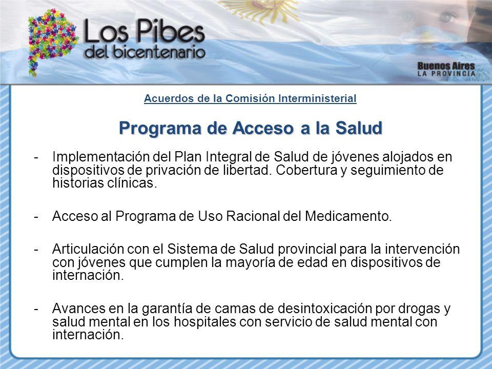 Acuerdos de la Comisión Interministerial Programa de Acceso a la Salud -Implementación del Plan Integral de Salud de jóvenes alojados en dispositivos