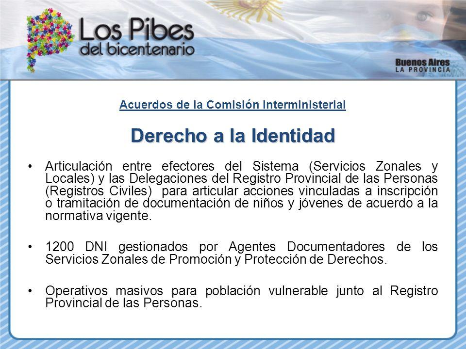 Acuerdos de la Comisión Interministerial Derecho a la Identidad Articulación entre efectores del Sistema (Servicios Zonales y Locales) y las Delegacio