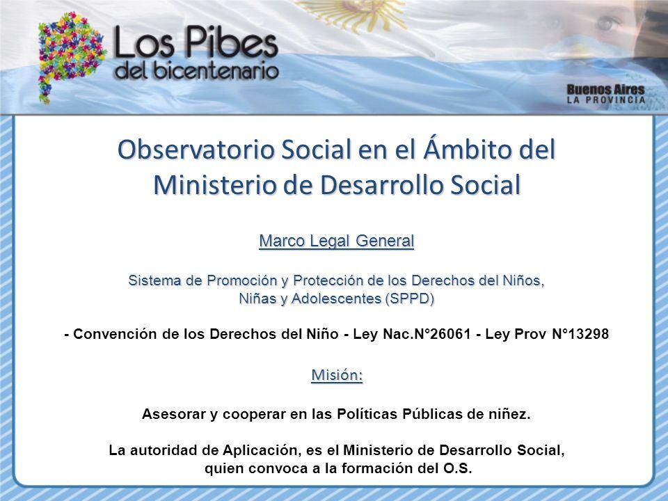 Observatorio Social en el Ámbito del Ministerio de Desarrollo Social Marco Legal General Sistema de Promoción y Protección de los Derechos del Niños,