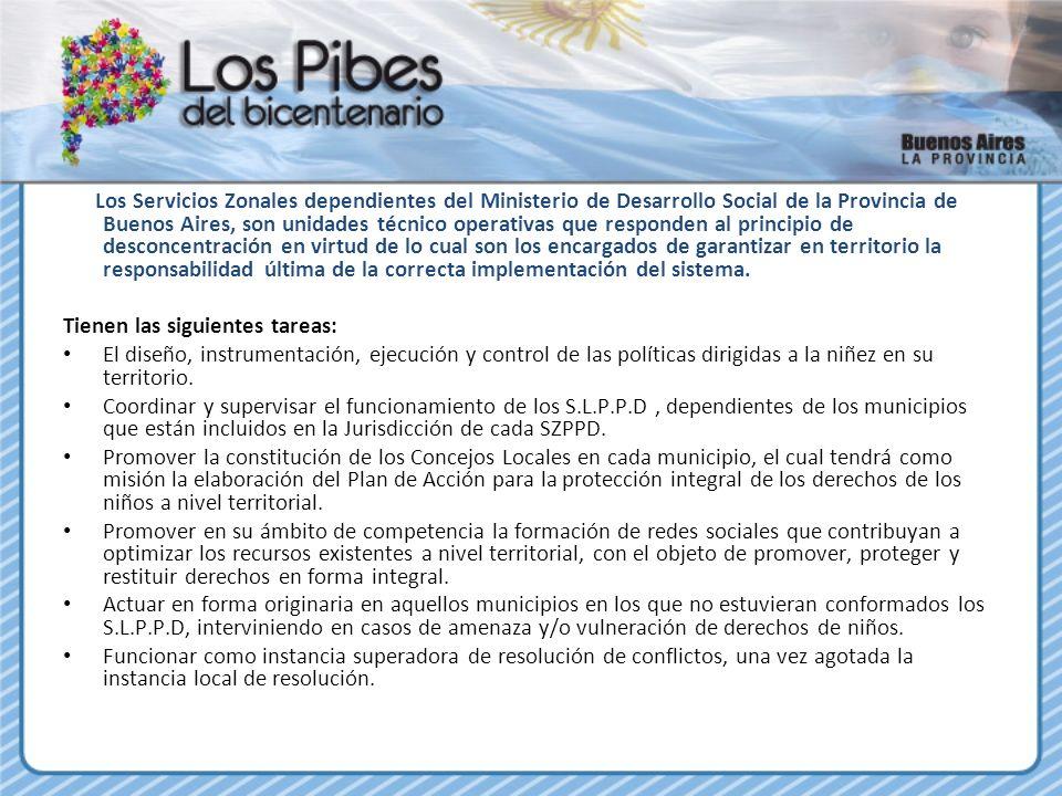 Los Servicios Zonales dependientes del Ministerio de Desarrollo Social de la Provincia de Buenos Aires, son unidades técnico operativas que responden