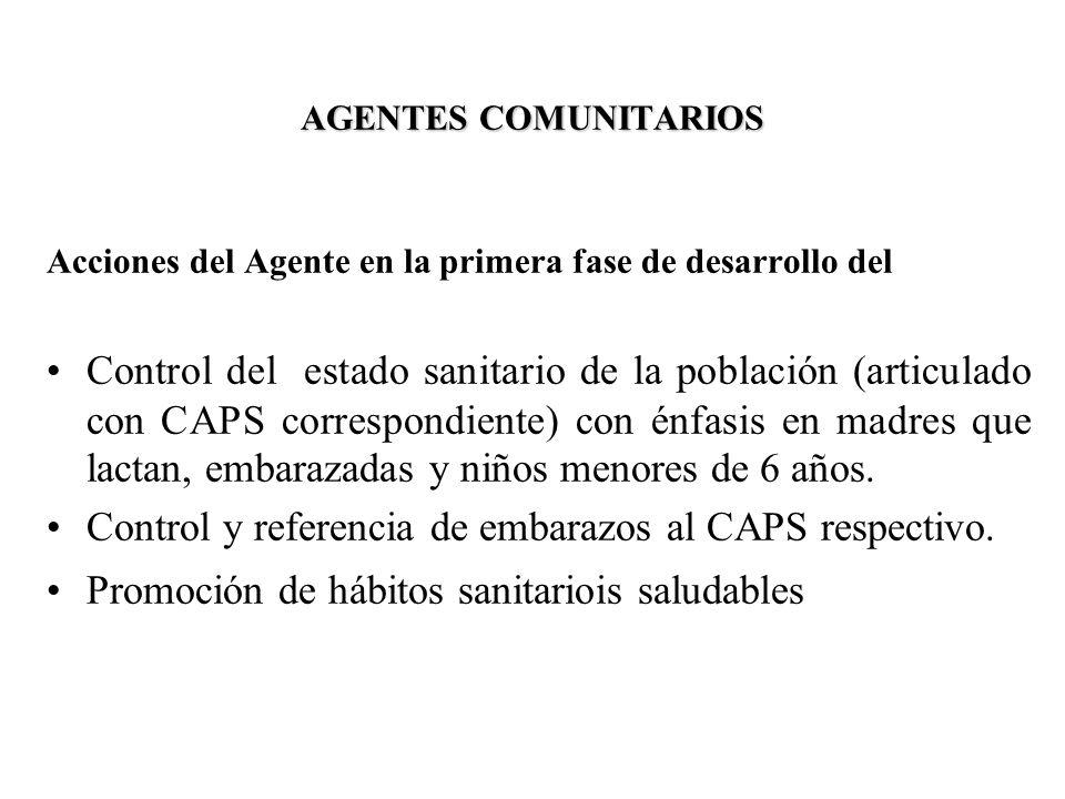 AGENTES COMUNITARIOS Acciones del Agente en la primera fase de desarrollo del Control del estado sanitario de la población (articulado con CAPS corres