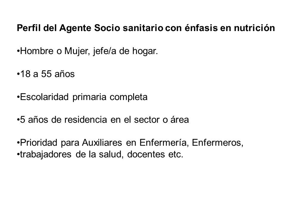 Perfil del Agente Socio sanitario con énfasis en nutrición Hombre o Mujer, jefe/a de hogar. 18 a 55 años Escolaridad primaria completa 5 años de resid