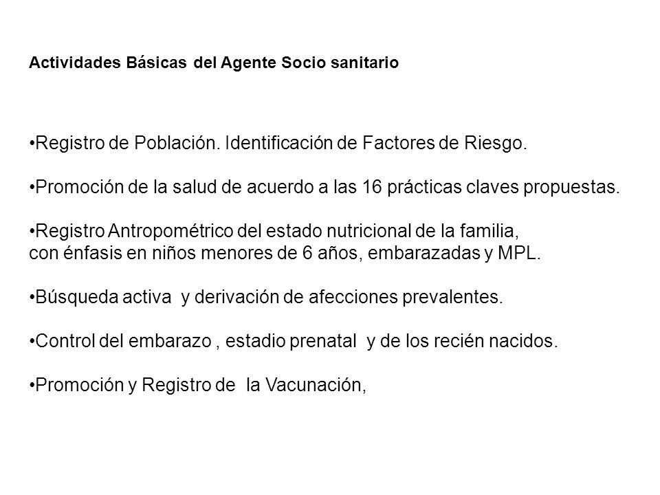 Actividades Básicas del Agente Socio sanitario Registro de Población. Identificación de Factores de Riesgo. Promoción de la salud de acuerdo a las 16