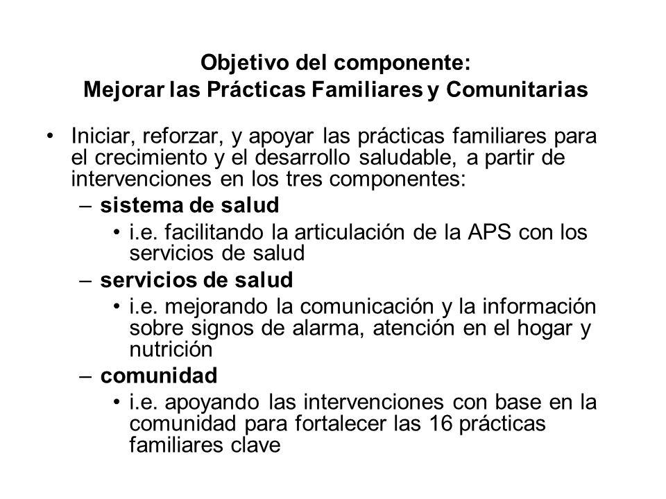 Objetivo del componente: Mejorar las Prácticas Familiares y Comunitarias Iniciar, reforzar, y apoyar las prácticas familiares para el crecimiento y el