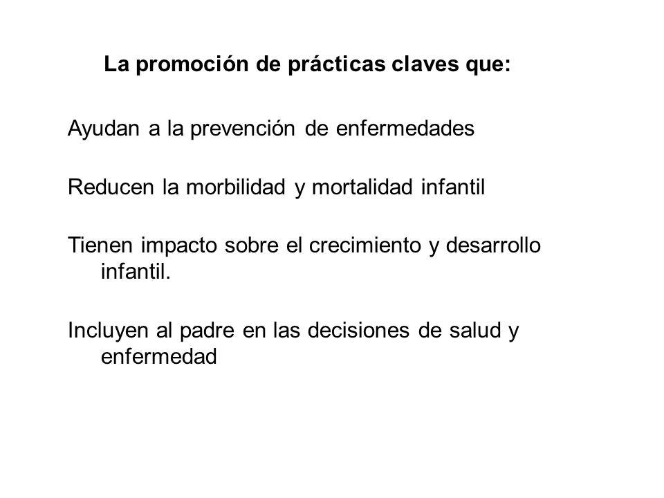 La promoción de prácticas claves que: Ayudan a la prevención de enfermedades Reducen la morbilidad y mortalidad infantil Tienen impacto sobre el creci