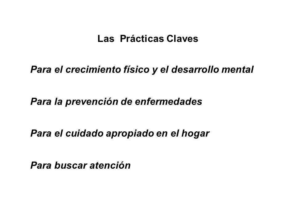 Las Prácticas Claves Para el crecimiento físico y el desarrollo mental Para la prevención de enfermedades Para el cuidado apropiado en el hogar Para b
