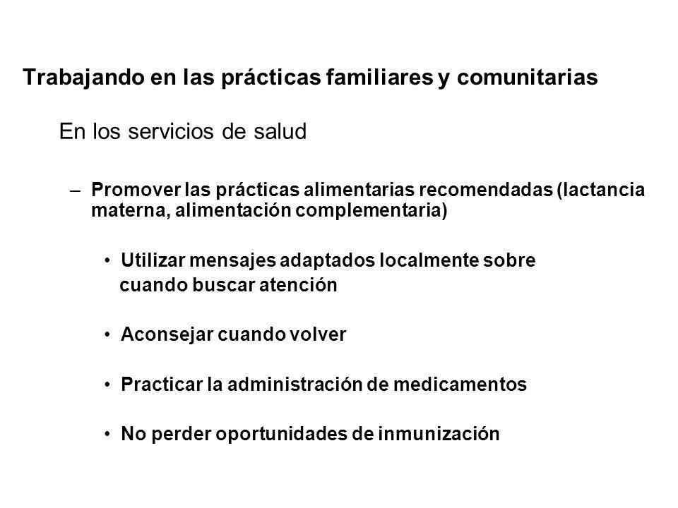 Trabajando en las prácticas familiares y comunitarias En los servicios de salud –Promover las prácticas alimentarias recomendadas (lactancia materna,