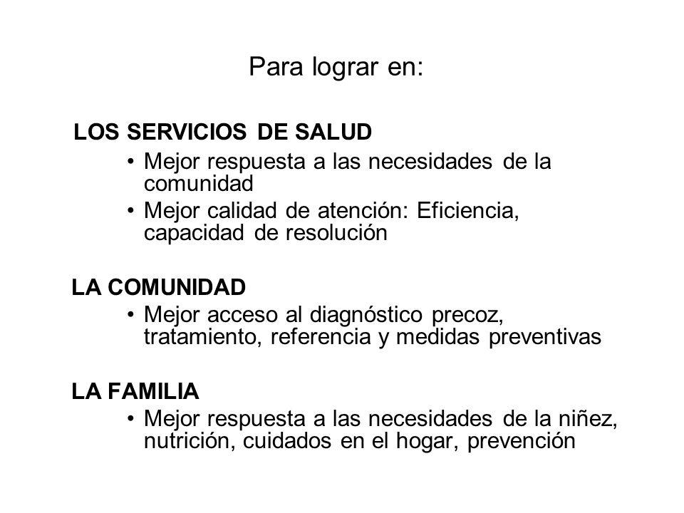 Para lograr en: LOS SERVICIOS DE SALUD Mejor respuesta a las necesidades de la comunidad Mejor calidad de atención: Eficiencia, capacidad de resolució