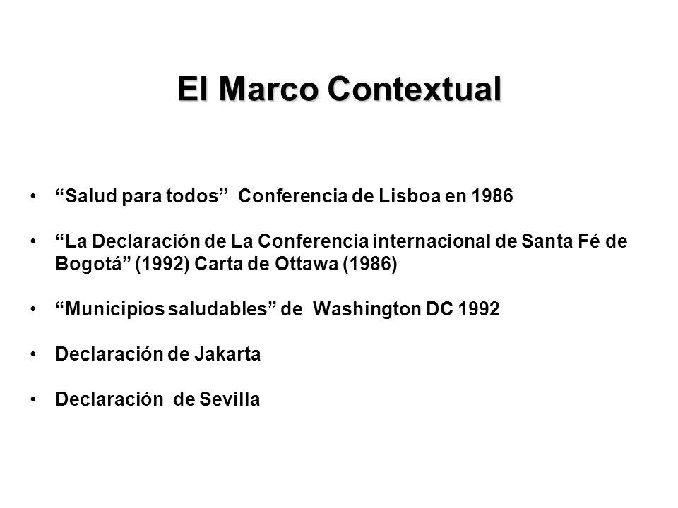 El Marco Contextual Salud para todos Conferencia de Lisboa en 1986 La Declaración de La Conferencia internacional de Santa Fé de Bogotá (1992) Carta d