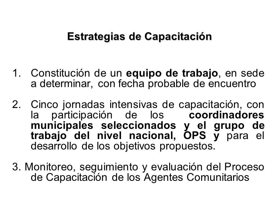 Estrategias de Capacitación 1.Constitución de un equipo de trabajo, en sede a determinar, con fecha probable de encuentro 2.Cinco jornadas intensivas